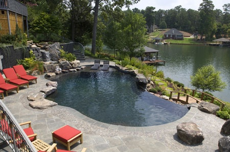 Black Bottom Negative Edge Swimming Pool Free Form Swimming Pools Pinterest The O 39 Jays