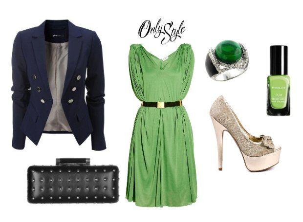Wasze zielone stylizacje - Dorisek16!  :).  Do #konkursu na #najlepsza #stylizacja zaprasza www.big-active! torebka  pierścionek  Lakier do paznokci INGLOT   marynarka  buty na obcasie  Zielona sukienka Vionnet