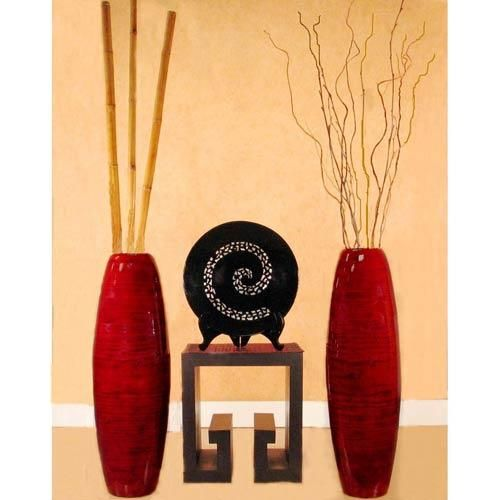 "floor vases for decoration home | Large Floor Vases :: 36"" Red Mahogany Bamboo Cylinder Large Floor Vase"