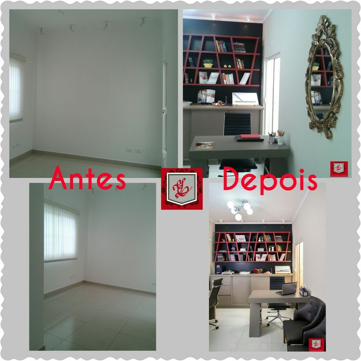 Antes e depois do Home office Zama Design de Interiores