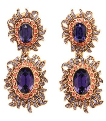 Oscar De La Renta Oscar De La Renta Woman Gold-tone, Enamel And Crystal Earrings Purple Size