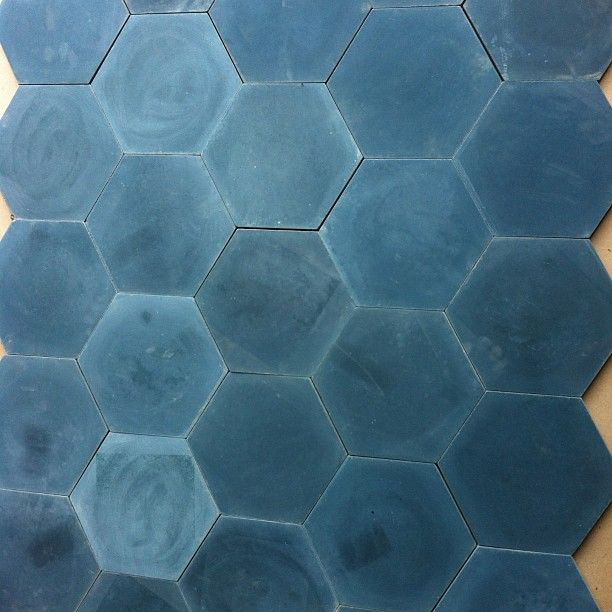 Blue encaustic concrete tile from a Jessica Helgerson project.