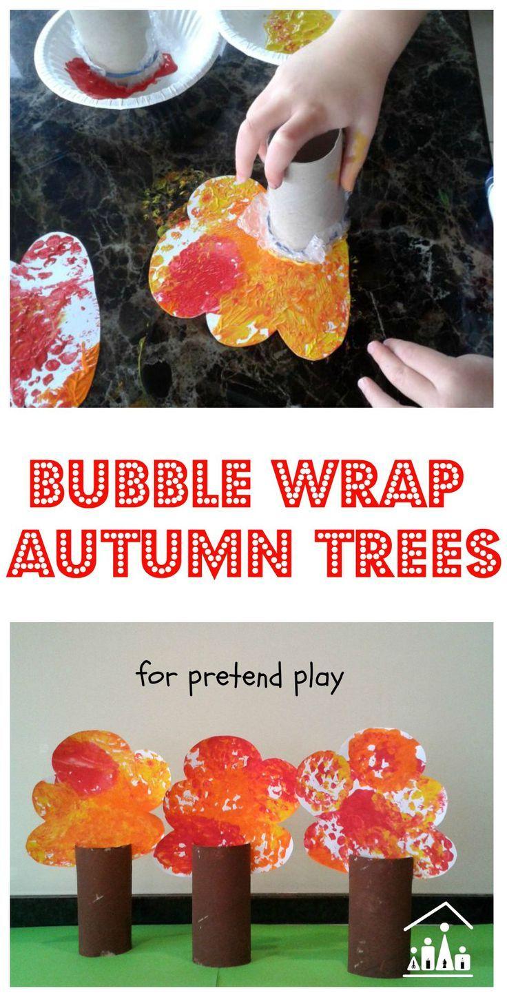 Bubble Wrap Autumn Trees for Pretend Play via @craftykidsathome