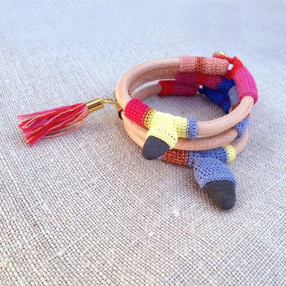 Leather crochet & tassel bracelet by kjoo on Etsy