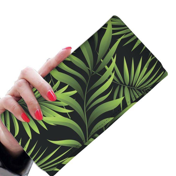 Palm Leaves Pattern Print Design PL07 Damen Geldbörse