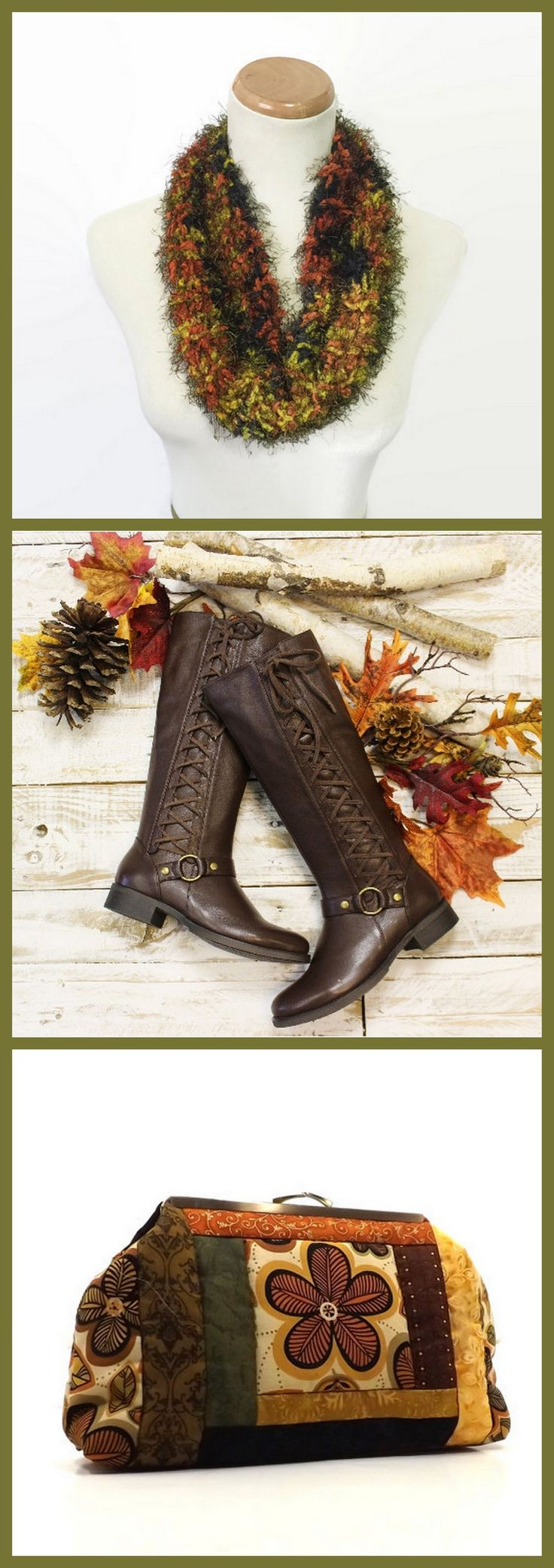 Ode to Fall!  These amazing items can be found here: Gold and Orange Cowl:  https://www.etsy.com/listing/473395825/gold-and-orange-cowl-mini-cowl-hand-knit   Brown Leather Lace Up Boots: https://www.etsy.com/listing/238774977/brown-real-leather-side-lace-up-boot  Boho Quilted Handbag:  https://www.etsy.com/listing/225379237/boho-handbag-quilted-tribal-spice-autumn
