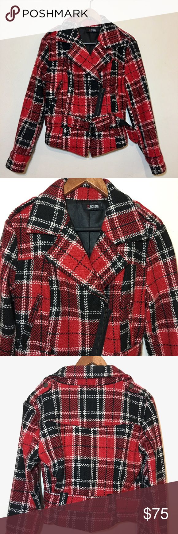 Morgan De Toi Plaid Jacket ONE OF A KIND!!! Morgan De Toi Plaid Biker / Moto Style Jacket. Thick wool blend material. Diagonal zip front closure with 2 zip pockets. Fully lined with inner button pocket. Size 10. This jacket is in pristine condition! Morgan De Toi Jackets & Coats