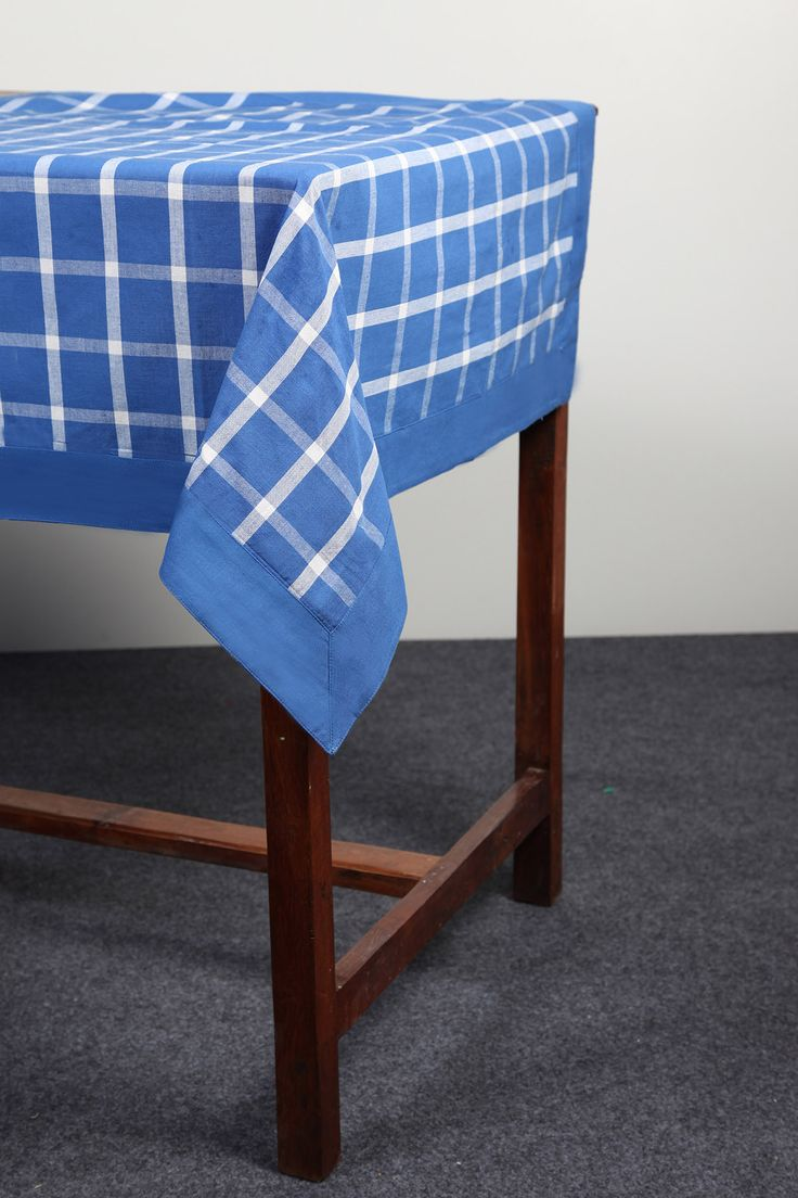 Checked table cloth with stitched border by Suraaj Linens