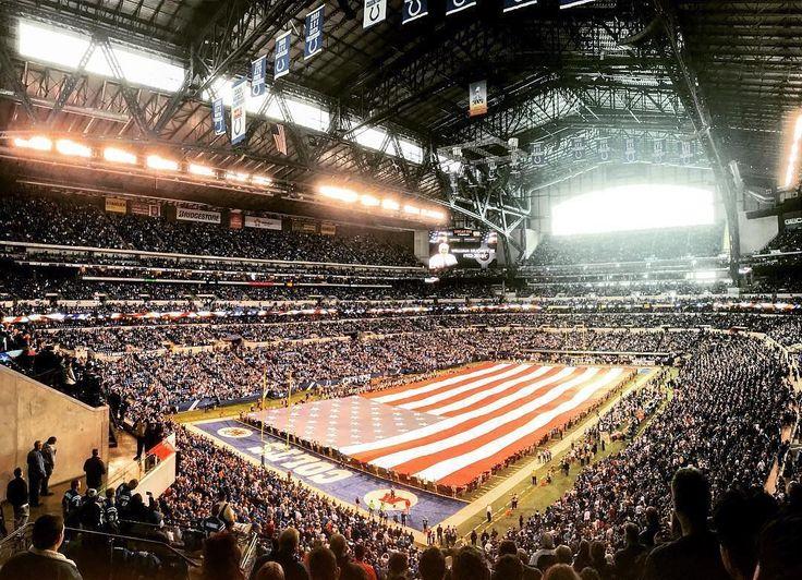 Gorgeous shot of the Lucas Oil Stadium and the huge USA flag! Thanks @_ramblin_traveler!  #SuperTailgate #tailgate #tailgating #win #letsgo #gameday #travel #adventure #stadium #party #sport #ESPN #jersey #sports #league #SportsNews #score #love #Football #NFL