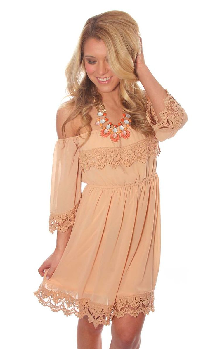 Would be so cute with cowgirl boots for the Merle Haggard concert!!  home before daylight dress – peach