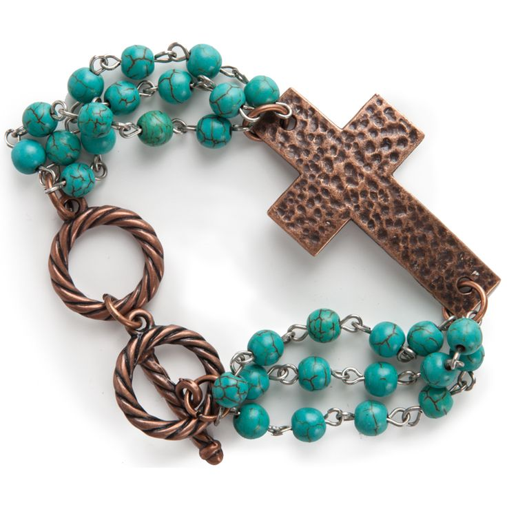 Women's J West and Company Hammered Copper Cross & Turquoise Chain Bracelet
