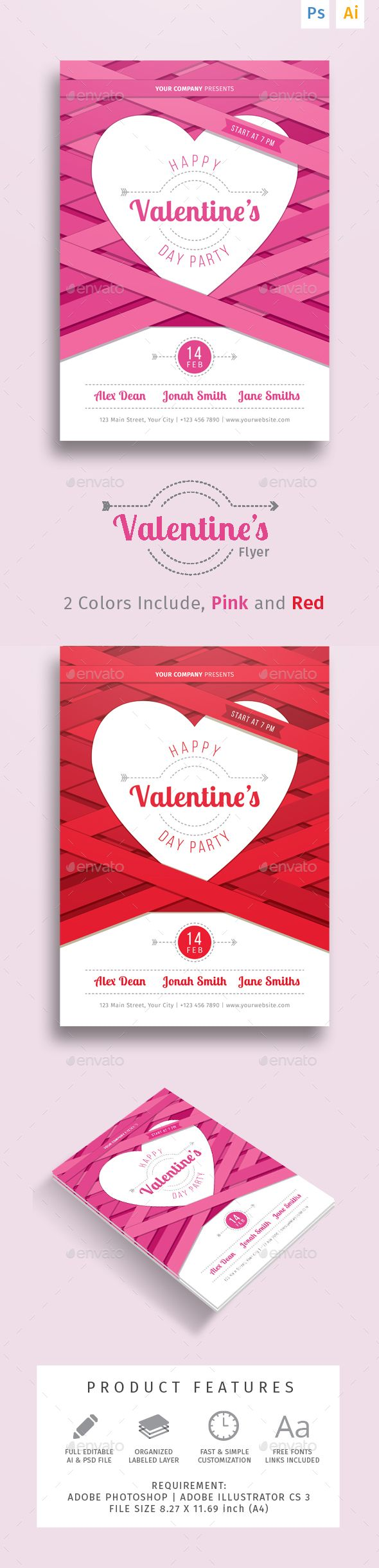 Valentine's Party Dinner Flyer — Photoshop PSD #invitation #clean • Available here → https://graphicriver.net/item/valentines-party-dinner-flyer/14461885?ref=pxcr