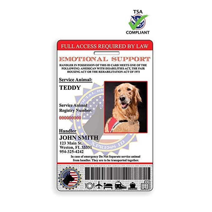 Xpressid Emotional Support Animal Id Card With Holographic Overlay And Registration To Dog Registry Emotional Support Dog Dog Id Emotional Support Animal