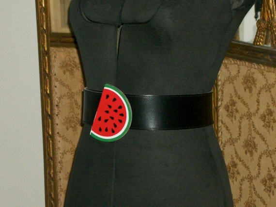 vintage 1980's leather WATERMELON motif belt - by LILLIAN VERNON - not exactly DIY, but ...