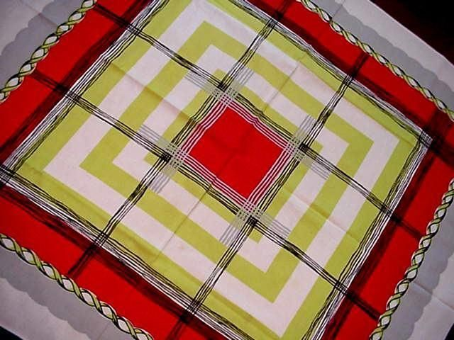 Vintage 50u0027s GEOMETRIC Windowpane MODERN Tablecloth RED LIME GREEN  Midcentury