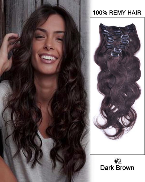 48 best clip in hair extensions images on pinterest remy human 16 inch body wave brazilian clip in remy hair extensions dark brown pmusecretfo Images