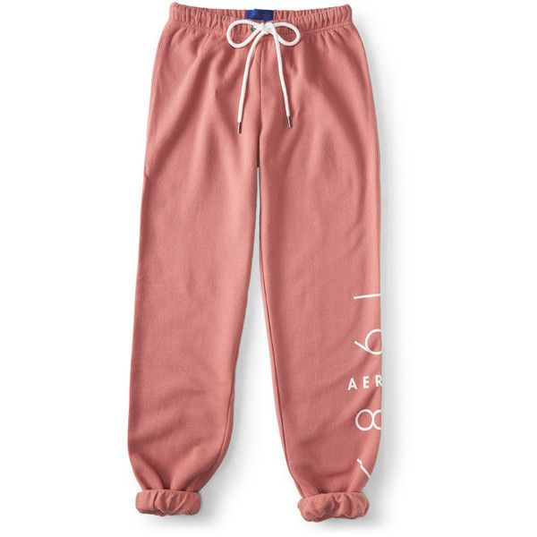 Aeropostale NYC 1987 Cinch Sweatpants ($16) ❤ liked on Polyvore featuring activewear, activewear pants, berry blush, aeropostale sweatpants, red sweat pants, sweat pants, relaxed fit sweatpants and aéropostale