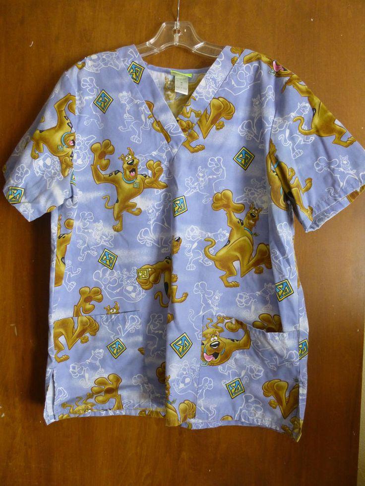 Scooby-Doo Cartoon Scrub Top M Blue Two Pockets #ScoobyDoo ...