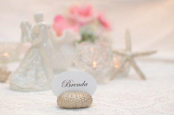 Gold Sea Urchin Place Card Name Holder  Set of door BeachyChicDecor, $26,50