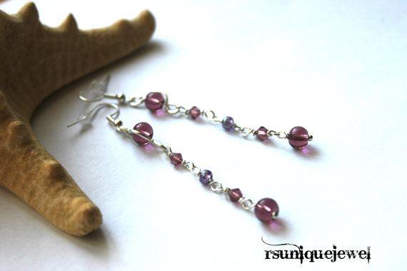 Wire Wrapped Long Earrings Bugundy Earrings by rsuniquejewel