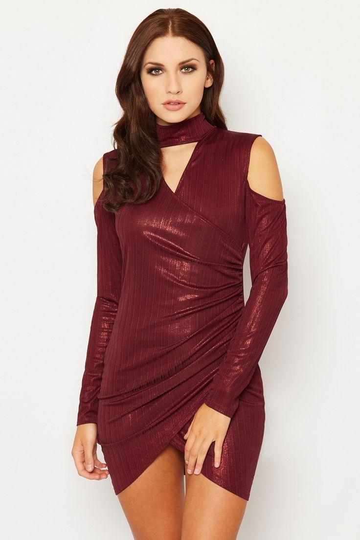 Terina Lurex Keyhole Back Wrapover Dress | WearAll