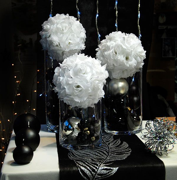 D coration de mariage en noir et blanc mariage pinterest wedding and we - Deco table nouvel an ...