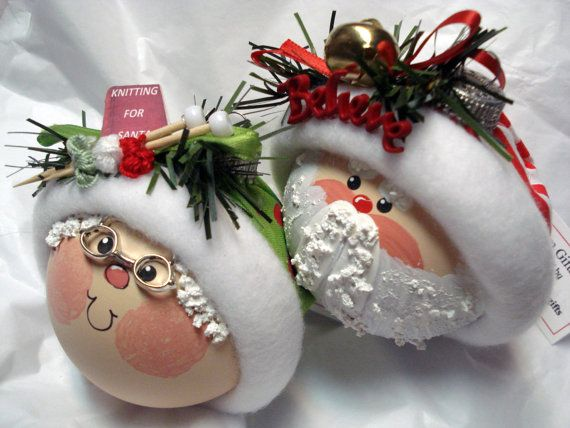 Santa & Mrs Claus Christmas Ornament Set Hand Painted Glass Knitting-Green Red Polka Dot Hat, Sleigh Bell Believe-Red White Stripe Hat