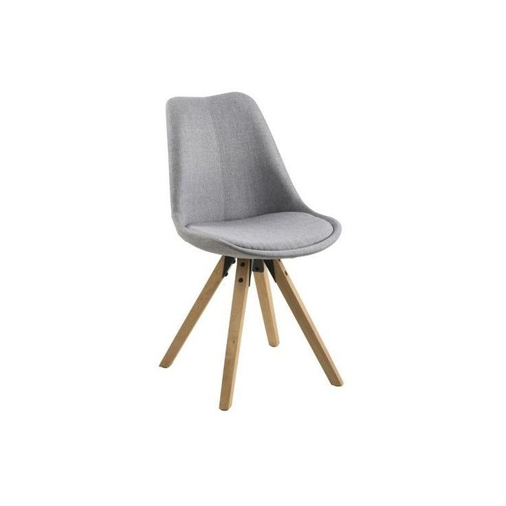 Jídelní židle Damian, čalouněná, světle šedá/dřevo | www.designovynabytek.cz