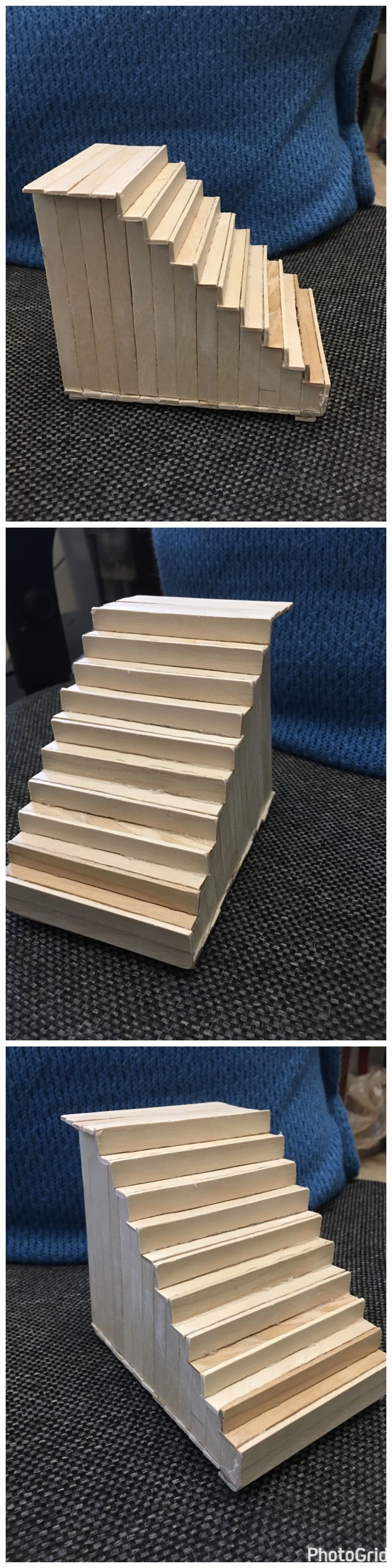 Diy hamster/pet staircase to lead to another level/platform made out of popsicle sticks