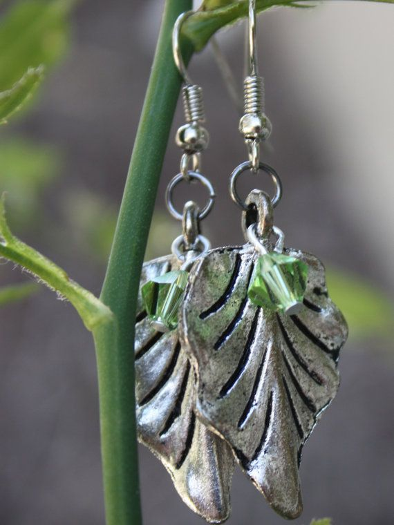 Silver Tone Leaf Earrings with Green by ForTheLoveOfColour on Etsy