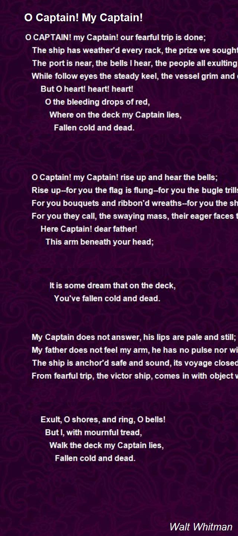 O Captain! My Captain! Poem by Walt Whitman - Poem Hunter