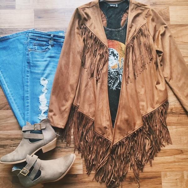 Suede Fringe Jacket - Livin' Freely Boho Outfit 70s Style Bell Bottom Outfit Bohemian Fashion Gypsy Style