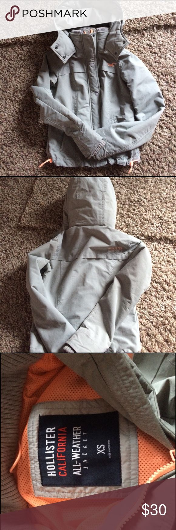 Light grey hollister jacket All weather jacket. Size xs. Light grey with a bright orange inner lining. Hollister Jackets & Coats
