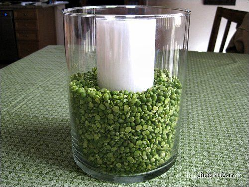 Simple, inexpensive way to liven up the table for St. Patrick's Day... Dried split peas!