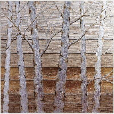 Silver and gold foil overlays add extra shimmer to our close-up perspective of birch trees rendered across wooden planks. If you're looking to add some scenic beauty to your living space, this unique, hand-painted piece is a naturally good choice.