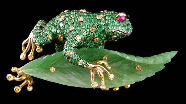 Green Garnet, Jade, Ruby & Diamond Frog Pin - Yafa Jewelry