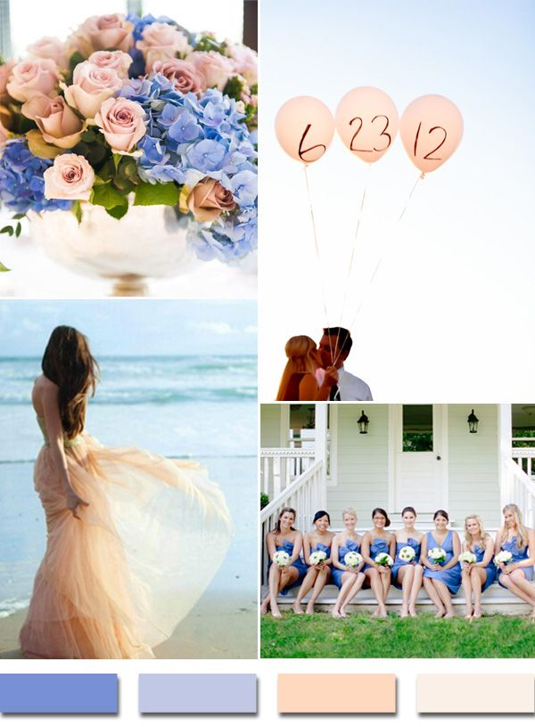 periwinkle inspired blue and peach wedding color ideas for 2015 trends