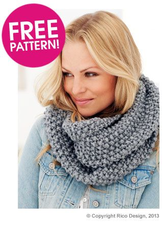 @ Deramores: Free pattern download from Rico Design - Moss Stitch Snood using super chunky yarn