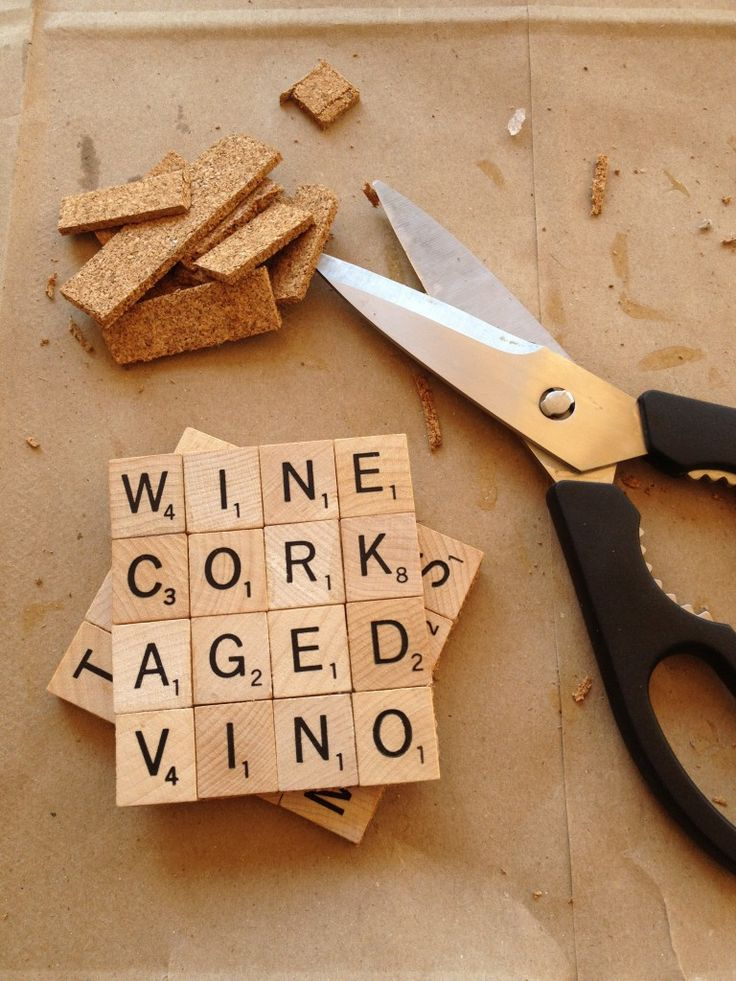 Photo tutorial for making Scrabble coasters.