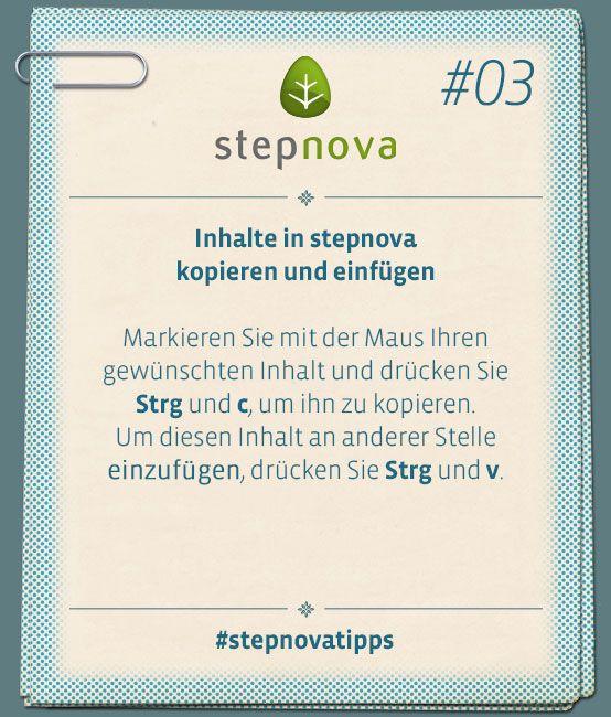 Inhalte in stepnova kopieren und einfügen...  #stepnovatipps #BeruflicheBildung #Dokumentation #Software