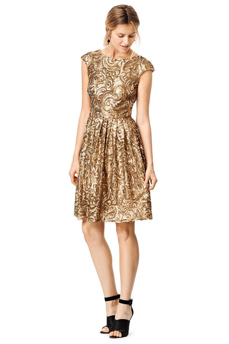 Golden Flower Dress by Badgley Mischka for $70 | Rent The Runway
