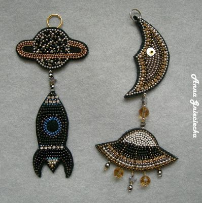 Space age, pendants/key chains, made of felt, beads, chains and crystal band, hanmade by Anna Gnieciecka
