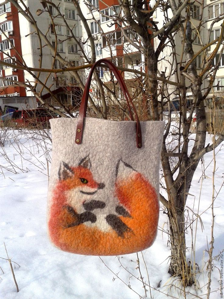 """Купить Сумка """"Лиса хитрющая"""" валяная - рыжий, рисунок, сумка ручной работы, сумка женская"""