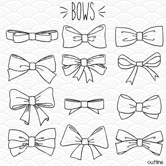 Hand Drawn Bows Clip Art Bow Tie Illustration Bundle Ribbon Vector Graphics Outline Drawing Doodles Png Svg Eps Pdf Dxf Bow Drawing Outline Drawings Drawings