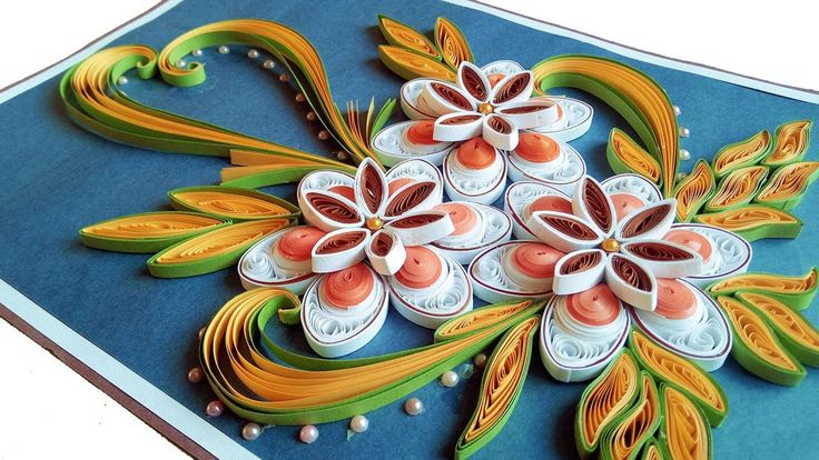How to Make Beautiful Quilling Flowers -Birthday Gift Greeting Card -Ste...