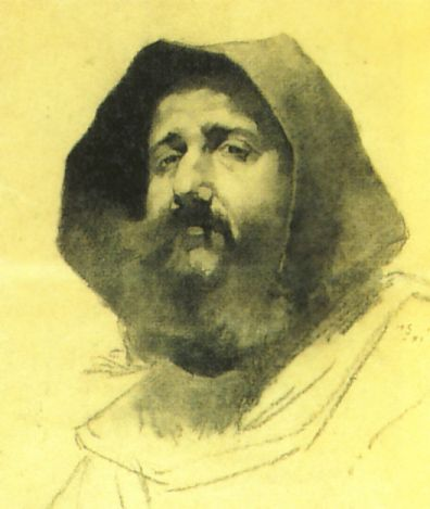 monk 1881 charcoal drawing on paper 47.5x40,Helene Schjerfbeck