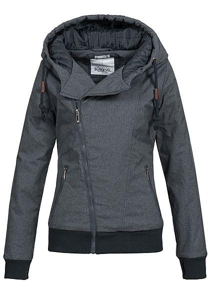 Eight2Nine Damen Winter Jacke Kapuze 2 Taschen by Sublevel schwarz blau melange - Art.-Nr.: 17084412