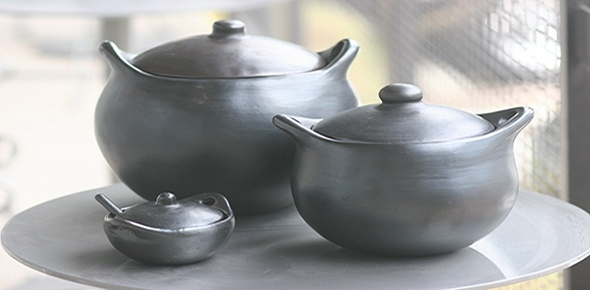 """La Chamba Clayware -""""There are no toxins in the La Chamba because no glazes are used (the pieces are hand-burnished) and there is no lead in the clay. Care is easy: a quick soak and wipe down with a sponge is all that is needed"""""""