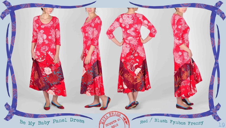 019 Be-my-Baby panel dress in red Fynbos Frenzy