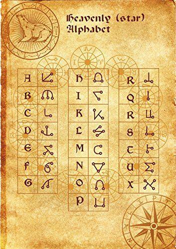 Alphabet des étoiles affiche parchemin wicca païenne impression art sorcières runes magiques